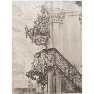 1959 Adolph Von Menzel Church Interior Lithograph