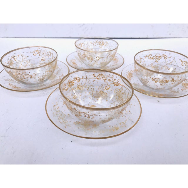 19th Century Lobmeyr Hand-Painted Enameled Fruit Bowls and Under Plates - Set of 4 For Sale - Image 9 of 12