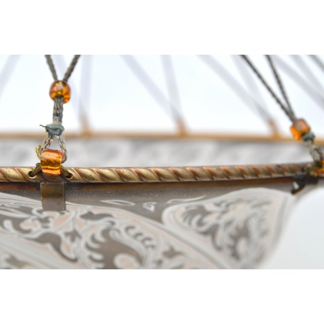 Glass Italian Fortuny Style Murano Glass Hanging Pendant For Sale - Image 7 of 10
