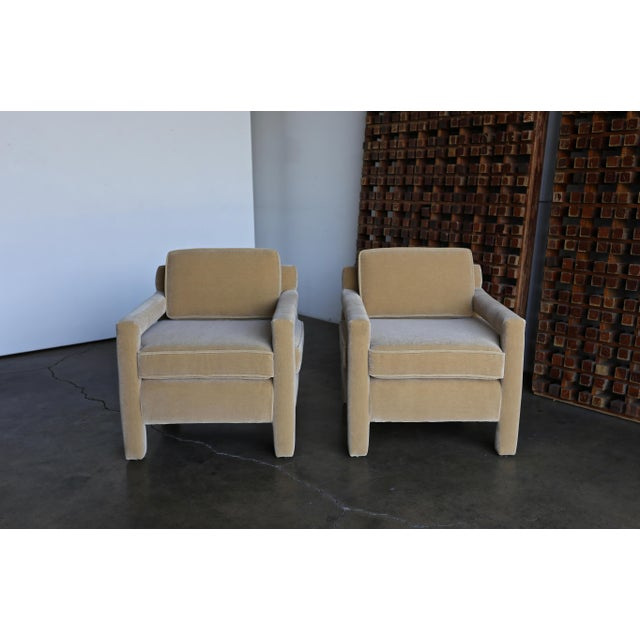1970's Parsons Lounge Chairs in Mohair For Sale - Image 10 of 13