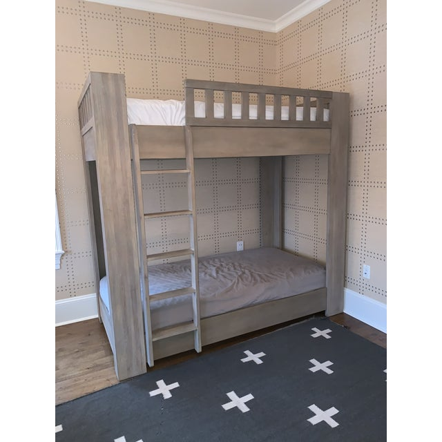 Contemporary Sandwashed Grey Wood Bunk Bed For Sale - Image 3 of 4