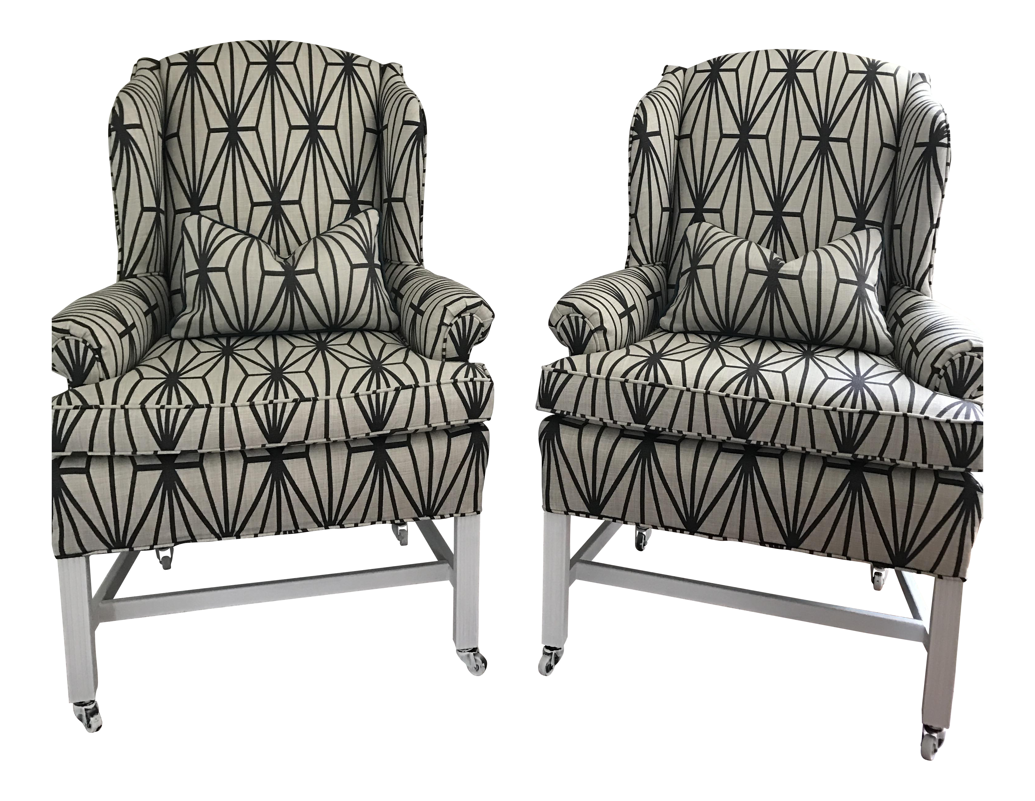 Kelly Wearstler Katana Fabric Upholstered Wingback Chairs   A Pair