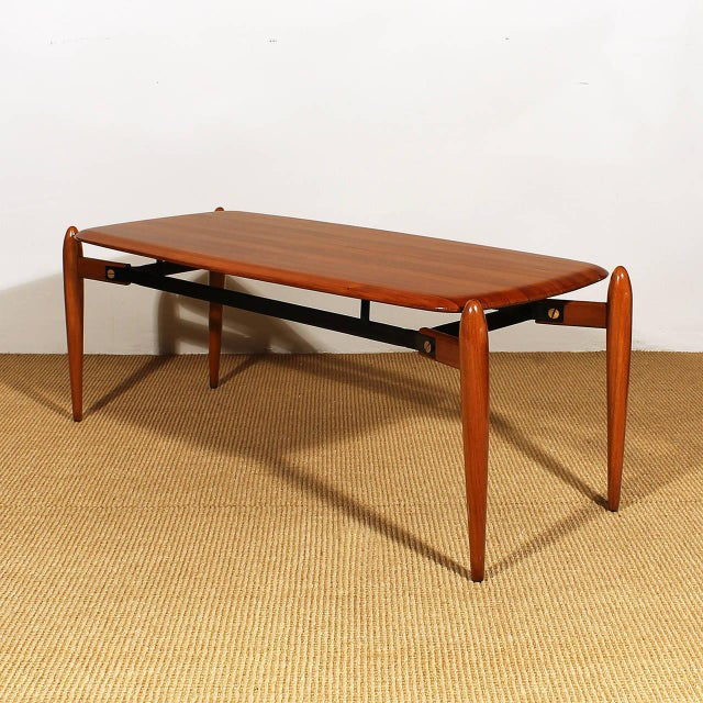 Mid-Century Modern 1950s Coffee Table, solid teak with ebony strips, iron, brass hardware - Italy For Sale - Image 3 of 8