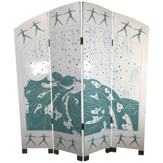 Art Deco Style Carved and Lacquered Screen Divider For Sale