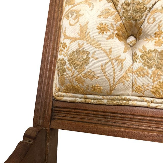 Art Deco 1900s Carved Brocade Upholstered Tufted Side Pagoda Top Chair With Casters in the Style of Eastlake For Sale - Image 3 of 9