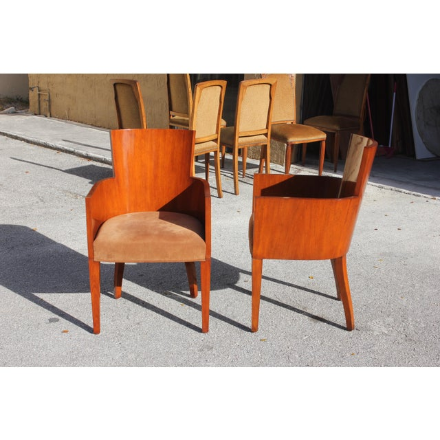 Art Deco Pair of Solid Mahogany Ralph Lauren Modern Hollywood Armchairs . For Sale - Image 3 of 13