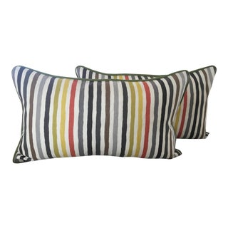Kravet Striped Linen Pillows- a Pair For Sale