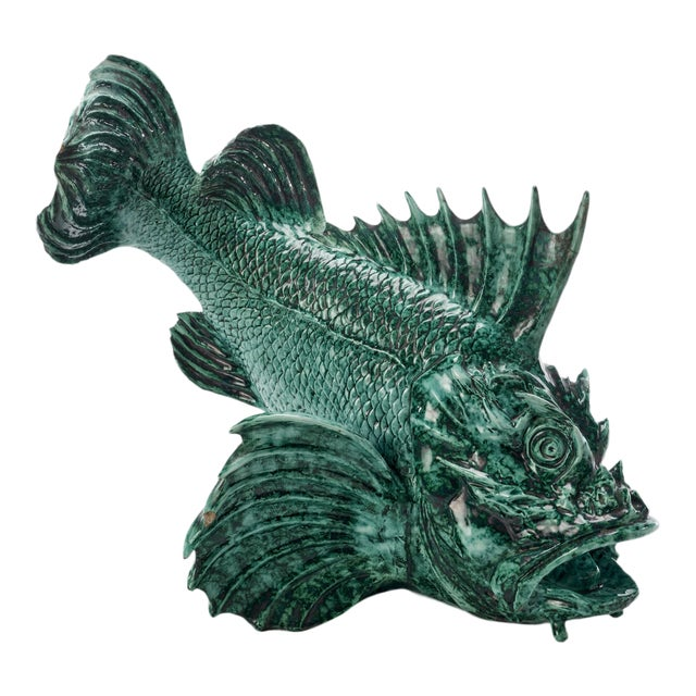 """1934 Guido Cacciapuoti """"Pesce Scorfano"""" Sculpture in Glazed Green Earthenware Signed and Dated For Sale"""