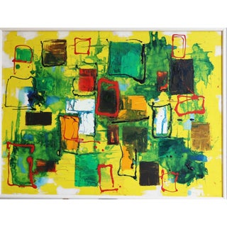 Mid Century Modern Yellow Abstract Oil Painting