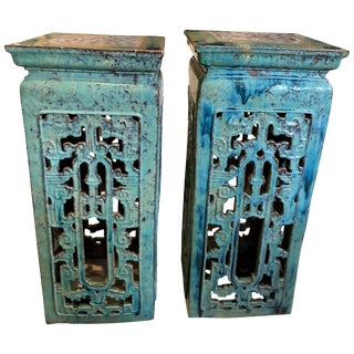 Chinese Turquoise Glaze Stands - a Pair For Sale