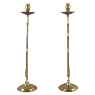 Antique Brass Faux Bamboo Candlesticks - a Pair For Sale