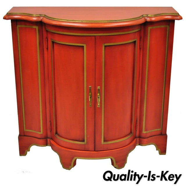 Red Lacquer Medallion Ltd Demilune Chinoiserie Georgian Credenza For Sale - Image 13 of 13
