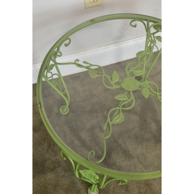 Woodard Chantilly Rose Garden Vintage Green Painted Wrought Iron Round Patio Side Table For Sale - Image 9 of 13