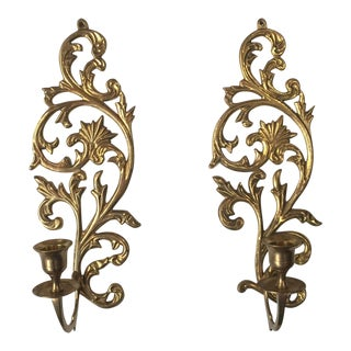 Art Noveau Brass Candleholder Sconces - A Pair For Sale