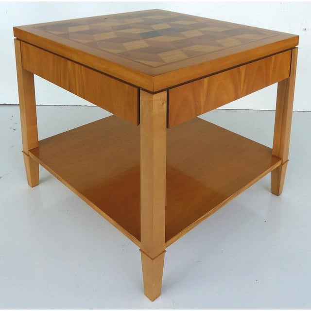 Mid 20th Century Mid-Century Baker Inlaid Geometric Design Side Table For Sale - Image 5 of 10