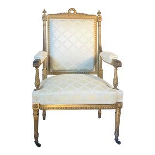 Antique French Louis XVI Style Armchair a La Reine For Sale