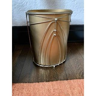 Vintage Hollywood Regency Gold Waste Basket Preview