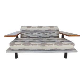 Italian Burl-Wood Upholstered Loveseat For Sale