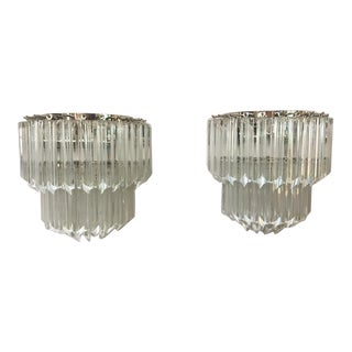 Contemporary Venini Style Applique Quadriedo Murano Glass Wall Sconces -a Pair For Sale