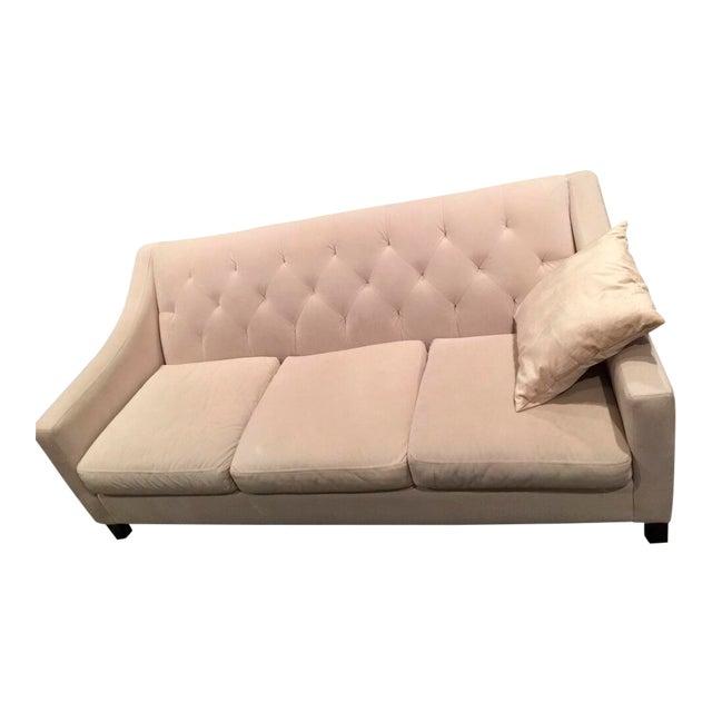 Chloe Velvet Tufted Sofa in Ivory For Sale