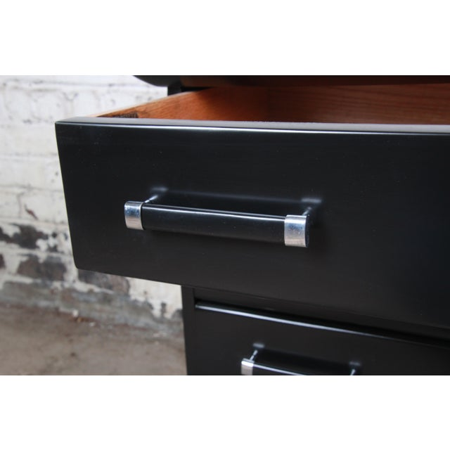 Black Renzo Rutili for Johnson Furniture Black Lacquered Bachelor Chests or Large Nightstands, Newly Refinished For Sale - Image 8 of 13