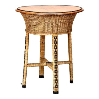1920s Round Woven Wicker Wood Side Table