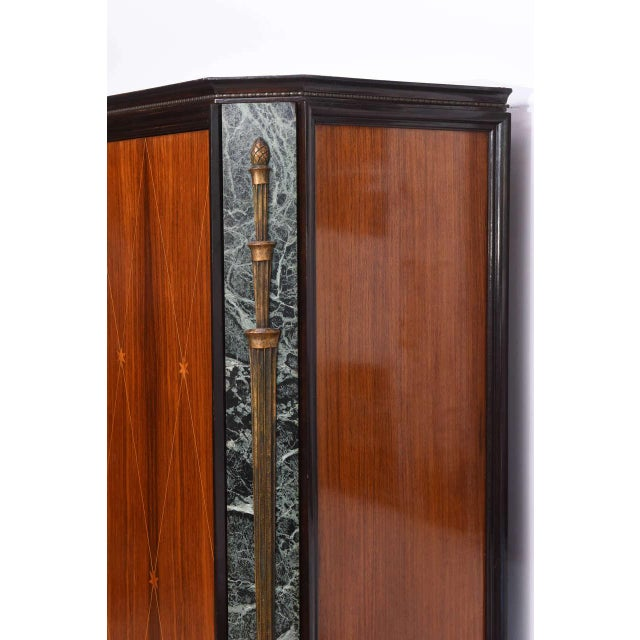 Metal Italian Modern Palisander and Marble Bookcase, Attributed to Paolo Buffa For Sale - Image 7 of 9