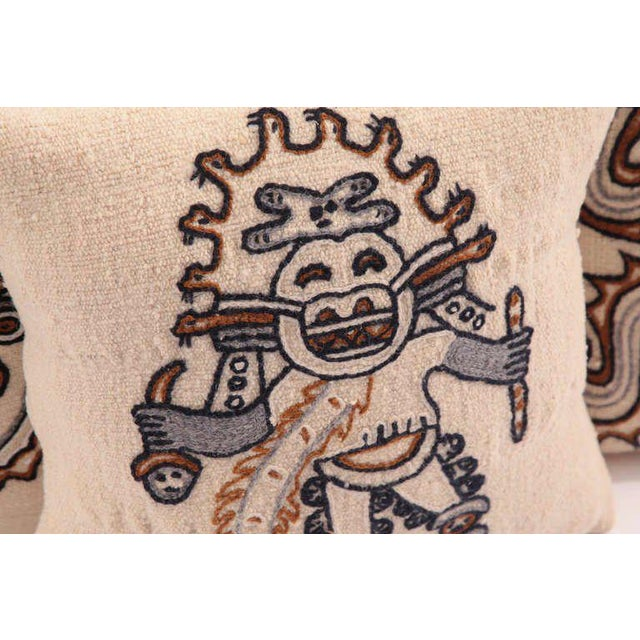 Embroidered Peruvian Pillows - Set of 4 For Sale - Image 4 of 8