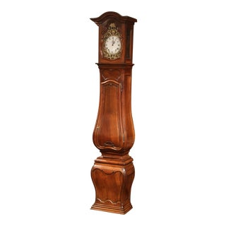 18th Century French Regence Bowed and Carved Walnut Tall Case Clock from Lyon