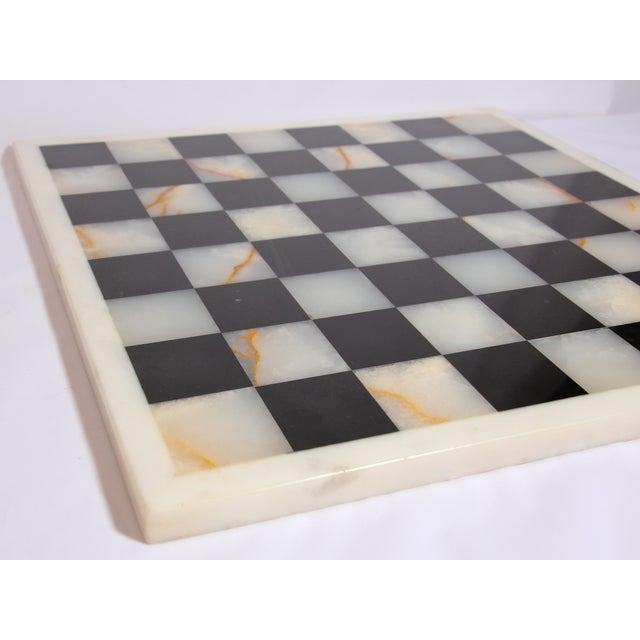Vintage Marble Chess Board With Hand Carved Black and White Onyx Chess Pieces For Sale - Image 9 of 13