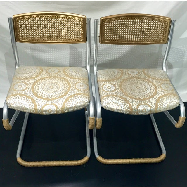 Gold Retro Twine Dining Chairs - 4 - Image 4 of 5