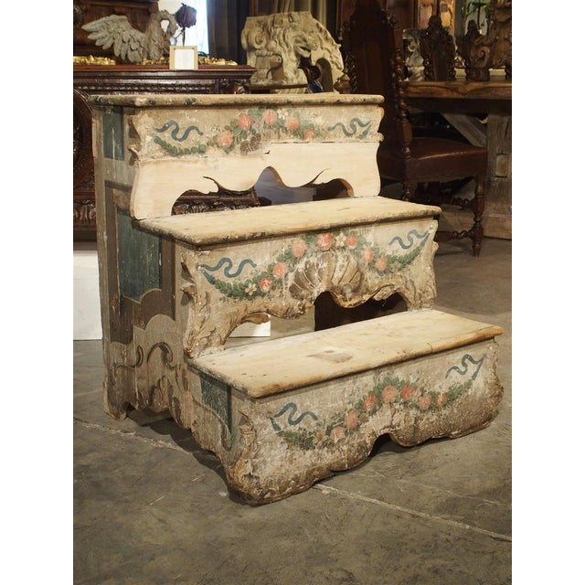 Italian Antique Venetian Poplar Wood Library Stairs, Circa 1750 For Sale - Image 3 of 13