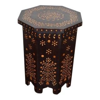 Indian Bone Fitted Octagonal Side Table - Dark For Sale