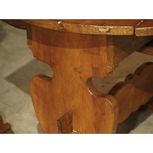 Arts & Crafts Pair of Antique Walnut Drop Leaf Side Tables From Italy, Circa 1900 For Sale - Image 3 of 12