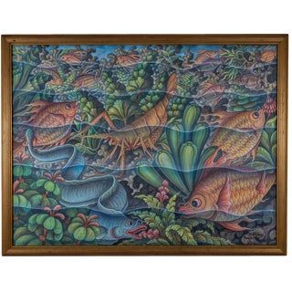 Mid 20th Century Balinese Seascape Painting, Framed For Sale