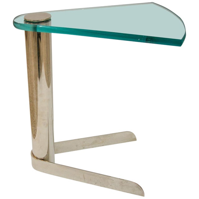 Glass and Stainless Steel Drinks Table by Pace Furniture For Sale