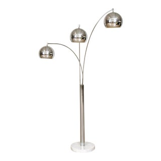 Mid Century Sonneman Style 3 Light Chrome Arc Floor Lamp with Marble Base For Sale