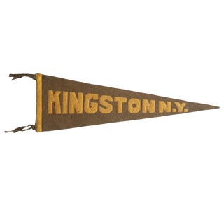 Antique Kingston n.y. Felt Flag Pennant