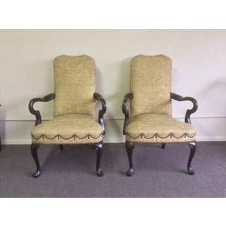 English Style Arm Chairs With Fortuny Upholstery - a Pair Preview