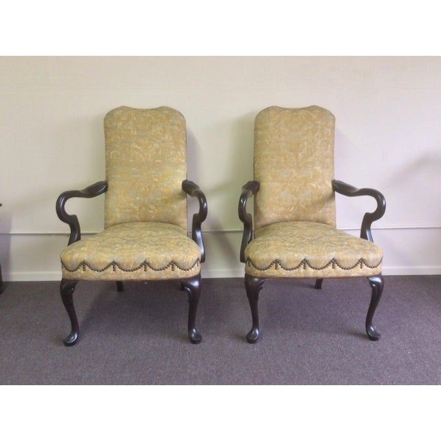 Stunning Pair Of English Style open Arm Chairs with mohair Textile back and Fortuny upholstery with tac to tac details and...