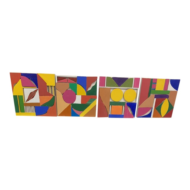 Color Wood Blocks A. Mallow 1980s Sculpture For Sale