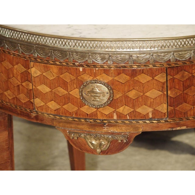 19th Century French 4-Drawer Marble Top Bouillote Table For Sale - Image 11 of 13