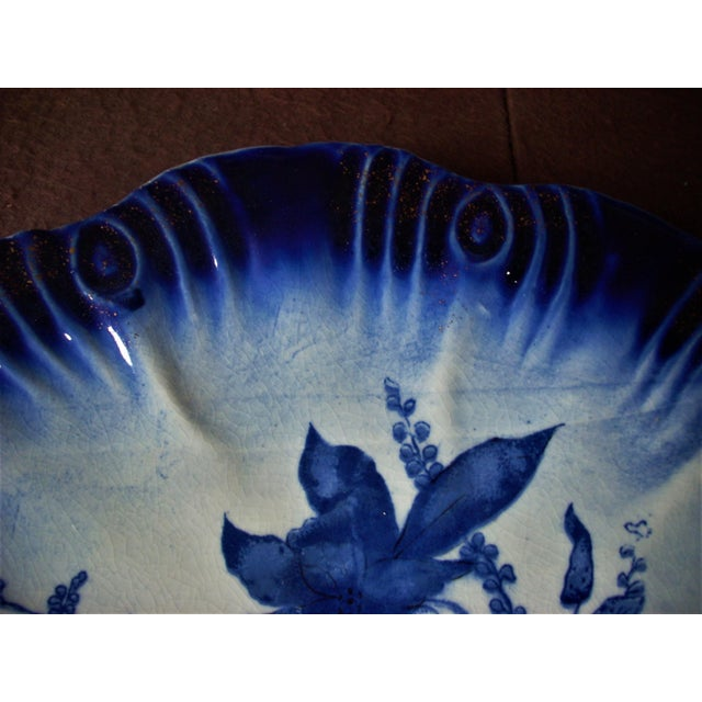 English 1940s Vintage English Flow Blue Serving Plate For Sale - Image 3 of 5
