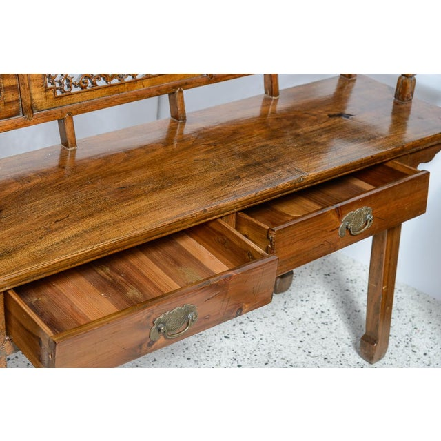 Metal Chinese Elm Wood Bench For Sale - Image 7 of 9