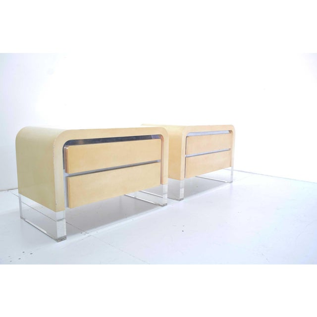White Vladimir Mid-Century Modern Kagan Chests of Drawers or Nightstands - a Pair For Sale - Image 8 of 11