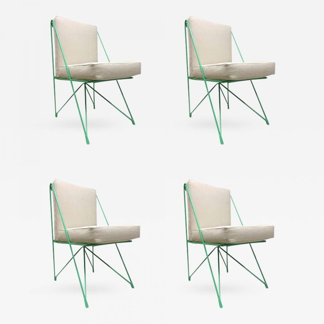 Turquoise Raoul Guys Rare Set of Four Aqua Metal Chairs, Newly Recovered in Canvas Cloth For Sale - Image 8 of 8