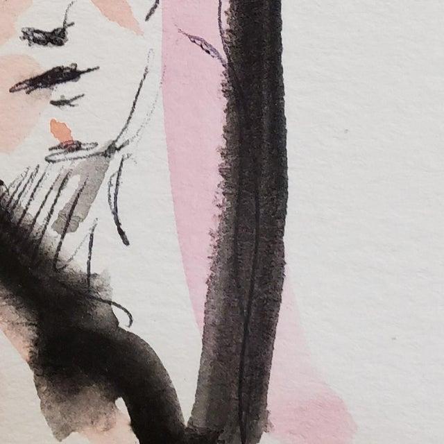 Contemporary Jose Trujillo Original Minimalist Portrait Modernist Watercolor Painting Signed For Sale - Image 3 of 4