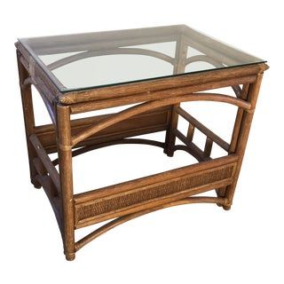 McGuire Style Rattan Bamboo Bentwood Glasstop Side Table For Sale