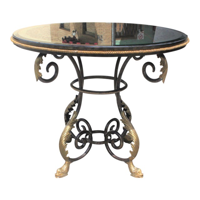 1950s French Art Deco Iron Center Table For Sale