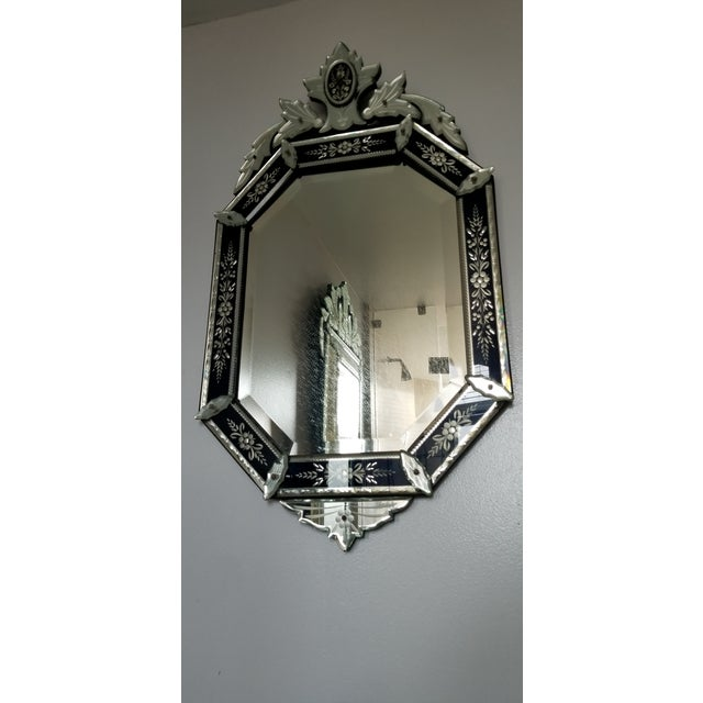 Mid 20th Century Vintage Mid-Century Venetian Style Black Banded Mirror For Sale - Image 5 of 12